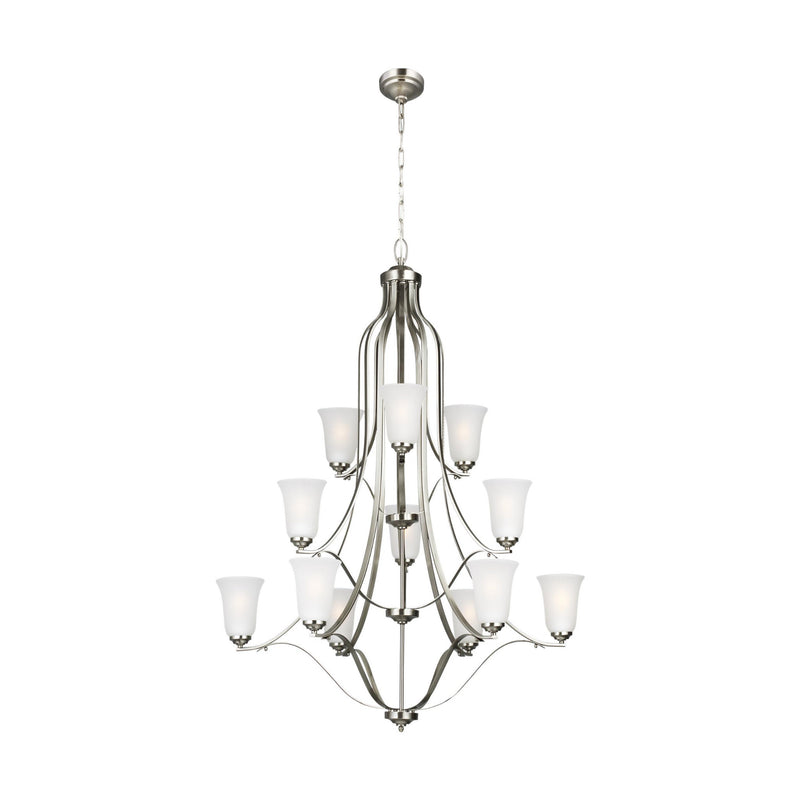 Generation Lighting 3139012-962 Sea Gull Emmons 12 Light Chandelier in Brushed Nickel