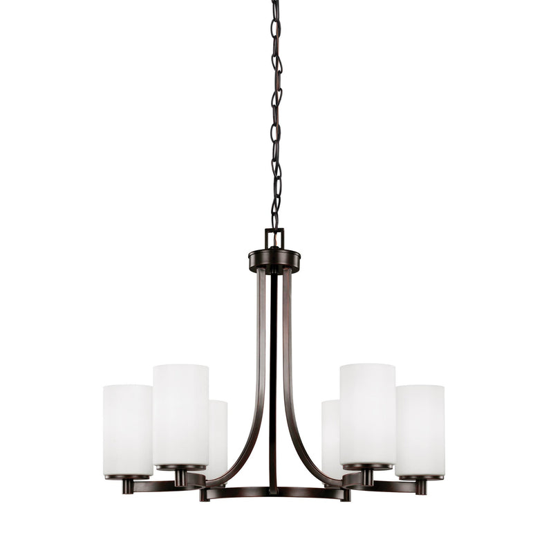 Generation Lighting 3139106-710 Sea Gull Hettinger 6 Light Chandelier in Burnt Sienna