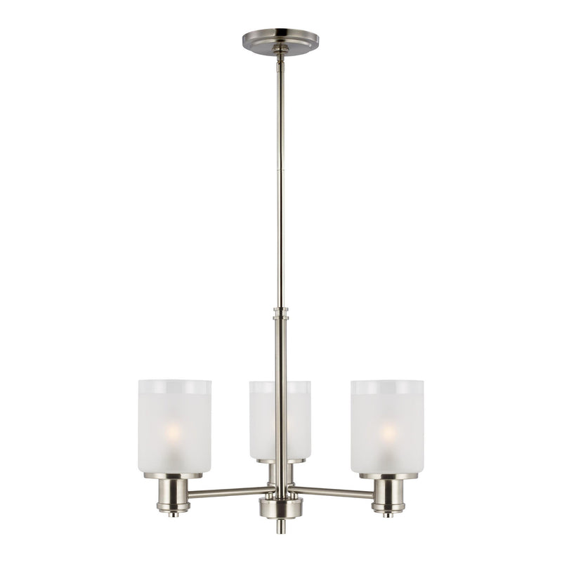 Generation Lighting 3139803-962 Sea Gull Norwood 3 Light Chandelier in Brushed Nickel