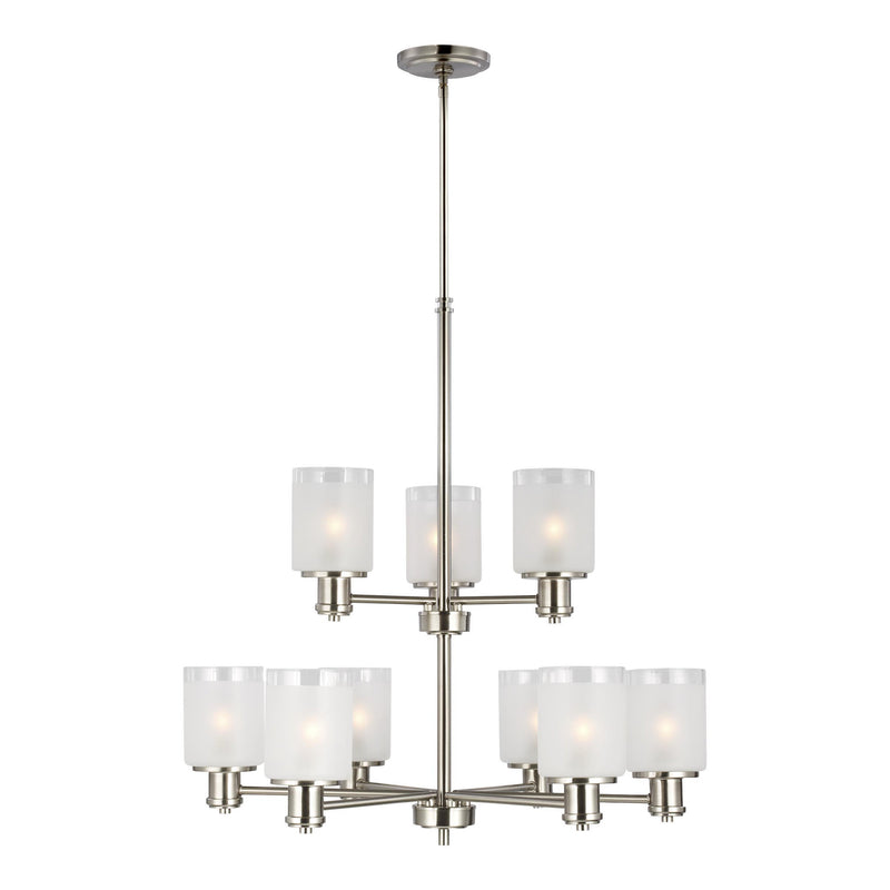 Generation Lighting 3139809-962 Sea Gull Norwood 9 Light Chandelier in Brushed Nickel