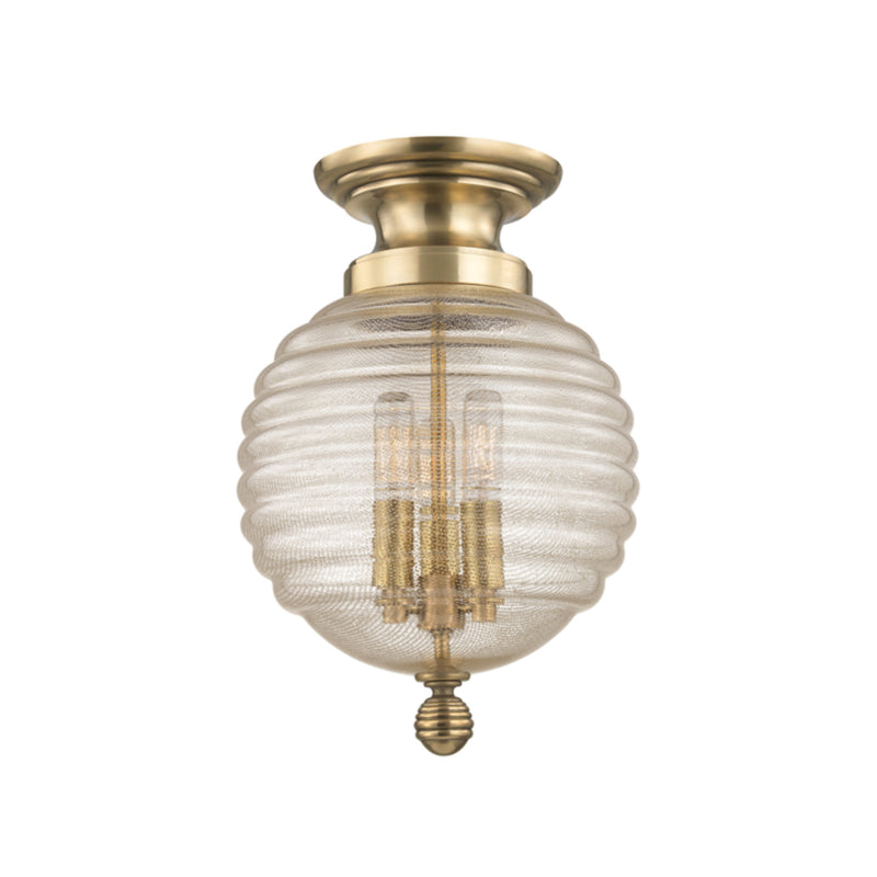 Hudson Valley Lighting 3200-AGB Coolidge 3 Light Flush Mount in Aged Brass