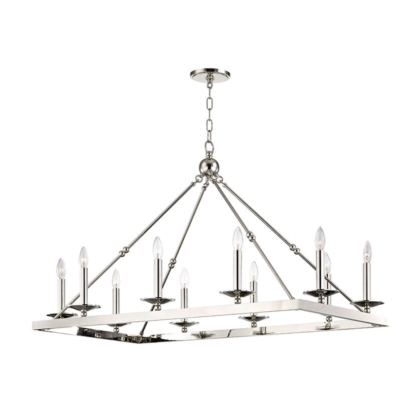 Hudson Valley Lighting 3244-PN Allendale 10 Light Chandelier in Polished Nickel