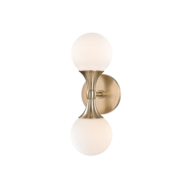 Hudson Valley Lighting 3302-AGB Astoria 2 Light Wall Sconce in Aged Brass