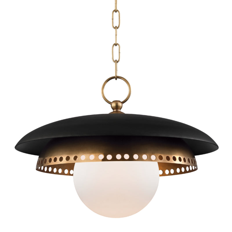 Hudson Valley Lighting 3317-AGB Herkimer 1 Light Pendant in Aged Brass