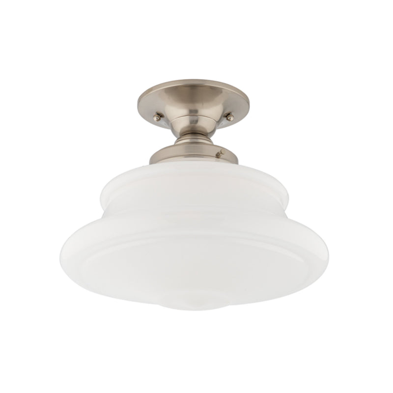 Hudson Valley Lighting 3412F-SN Petersburg 1 Light Semi Flush in Satin Nickel