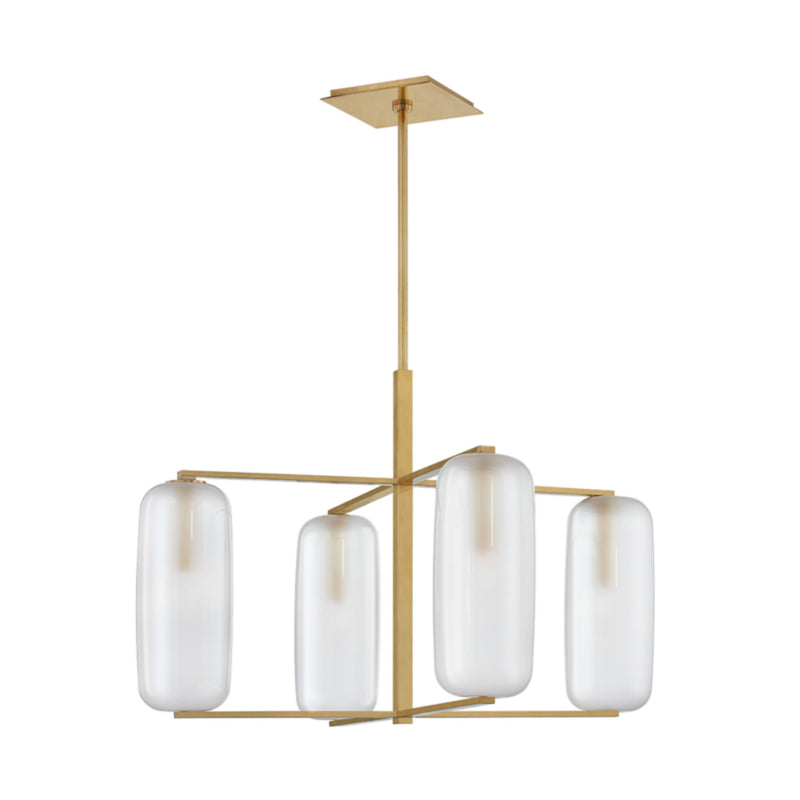 Hudson Valley Lighting 3474-AGB Pebble 4 Light Chandelier in Aged Brass