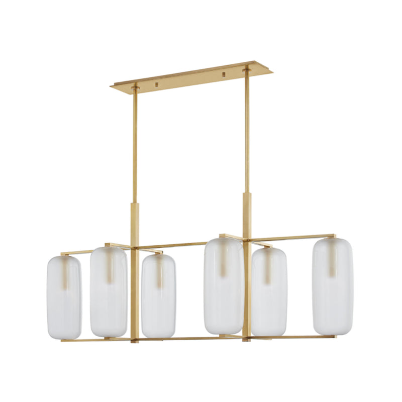 Hudson Valley Lighting 3476-AGB Pebble 6 Light Island Light in Aged Brass