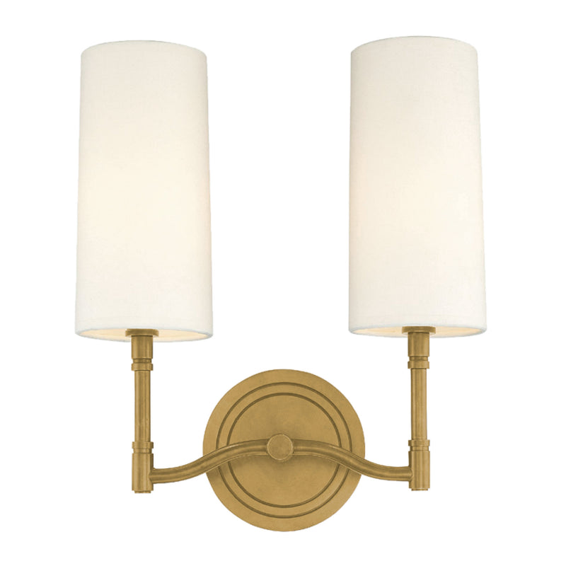 Hudson Valley Lighting 362-AGB Dillon 2 Light Wall Sconce in Aged Brass