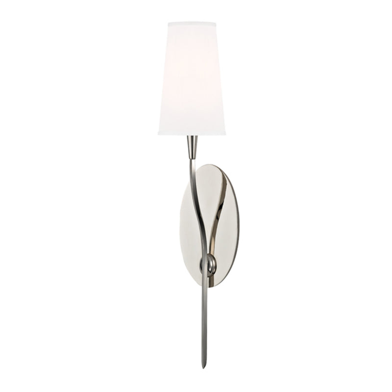 Hudson Valley Lighting 3711-PN-WS Rutland 1 Light Wall Sconce W/White Shade in Polished Nickel