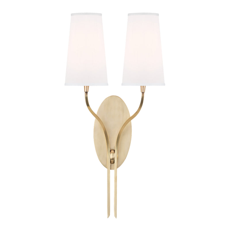 Hudson Valley Lighting 3712-AGB-WS Rutland 2 Light Wall Sconce W/White Shade in Aged Brass
