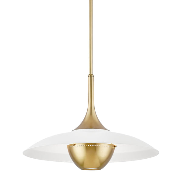Hudson Valley Lighting 3724-AGB/WH Clarkson 1 Light Pendant in Aged Brass/Soft Off White