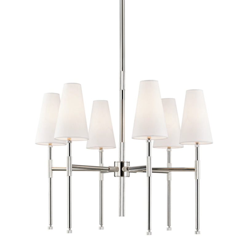 Hudson Valley Lighting 3728-PN Bowery 6 Light Chandelier in Polished Nickel