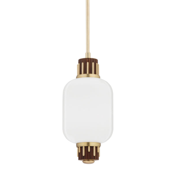 Hudson Valley Lighting 3811-AGB Peekskill 1 Light Pendant W/ Light Walnut Accent in Aged Brass