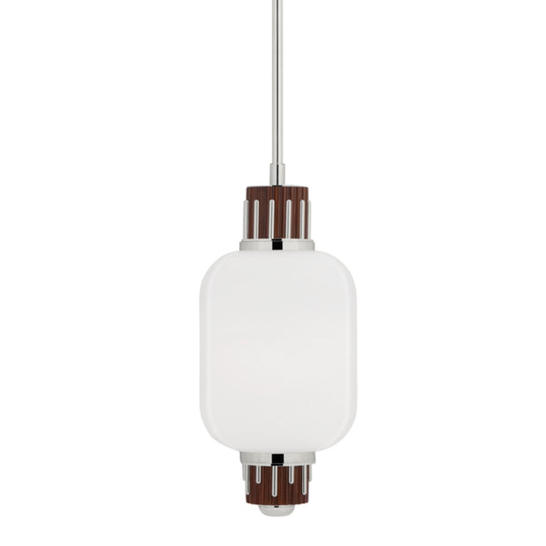 Hudson Valley Lighting 3811-PN Peekskill 1 Light Pendant W/ Light Walnut Accent in Polished Nickel