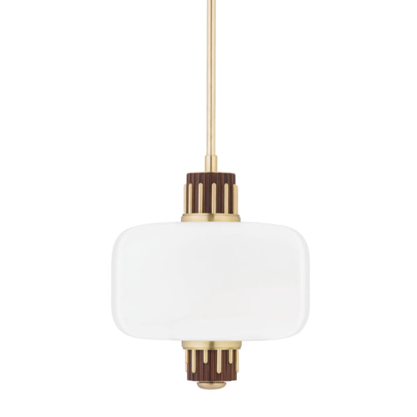 Hudson Valley Lighting 3817-AGB Peekskill 1 Light Pendant W/ Light Walnut Accent in Aged Brass