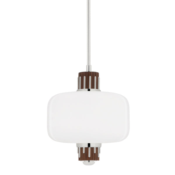 Hudson Valley Lighting 3817-PN Peekskill 1 Light Pendant W/ Light Walnut Accent in Polished Nickel