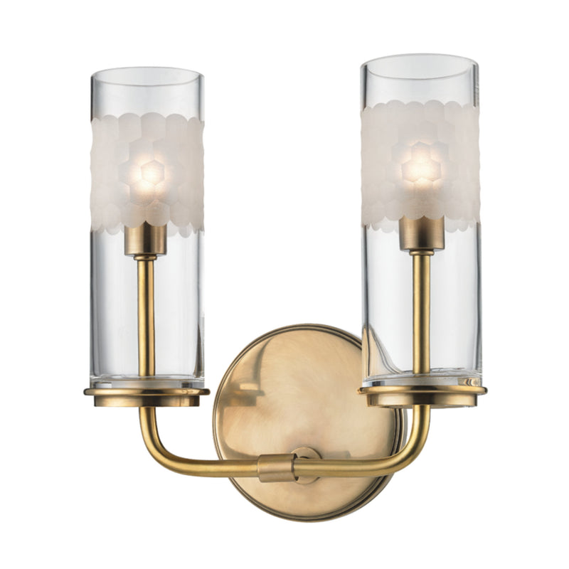 Hudson Valley Lighting 3902-AGB Wentworth 2 Light Wall Sconce in Aged Brass