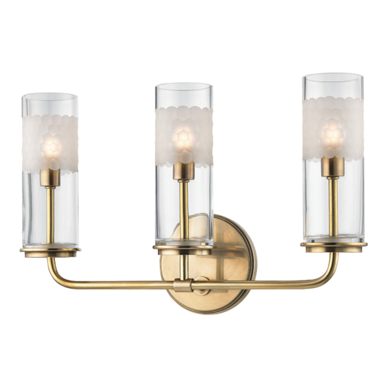 Hudson Valley Lighting 3903-AGB Wentworth 3 Light Wall Sconce in Aged Brass