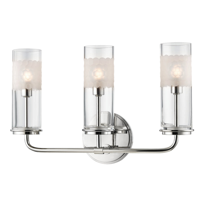 Hudson Valley Lighting 3903-PN Wentworth 3 Light Wall Sconce in Polished Nickel
