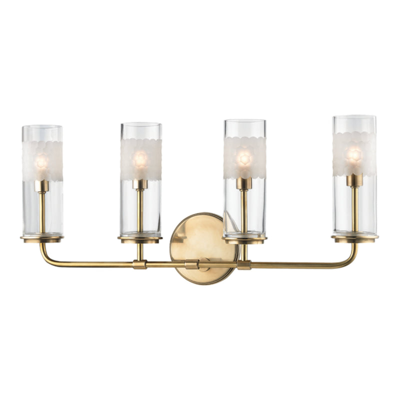 Hudson Valley Lighting 3904-AGB Wentworth 4 Light Wall Sconce in Aged Brass