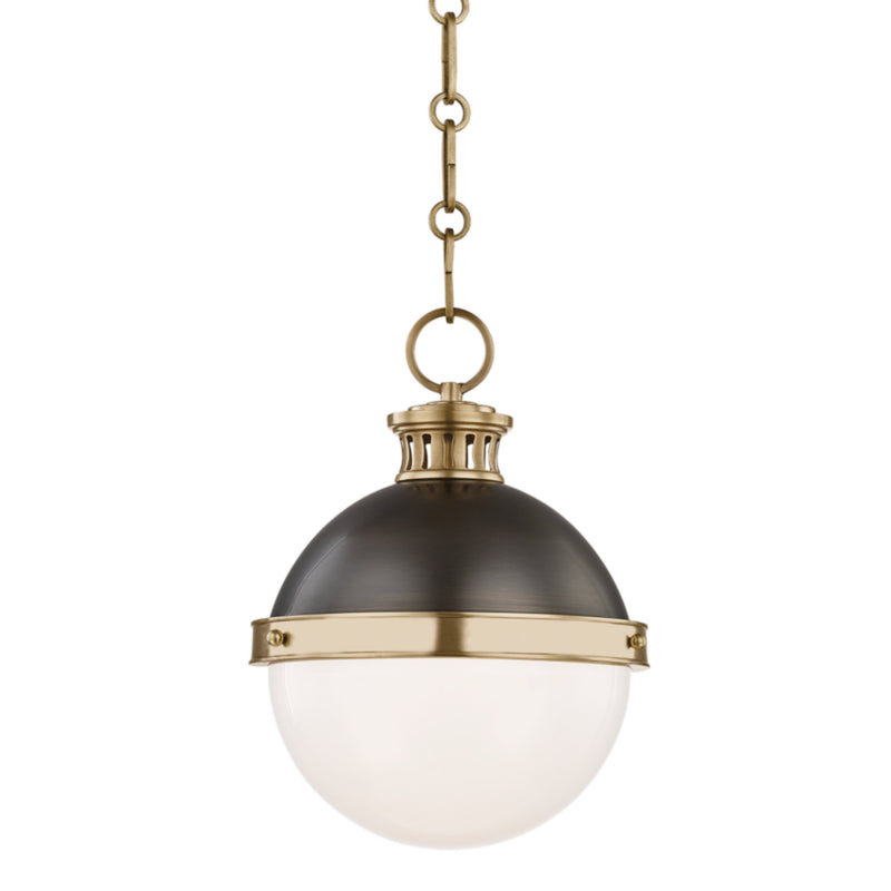 Hudson Valley Lighting 4019-ADB Latham 1 Light Small Pendant in Aged/Antique Distressed Bronze