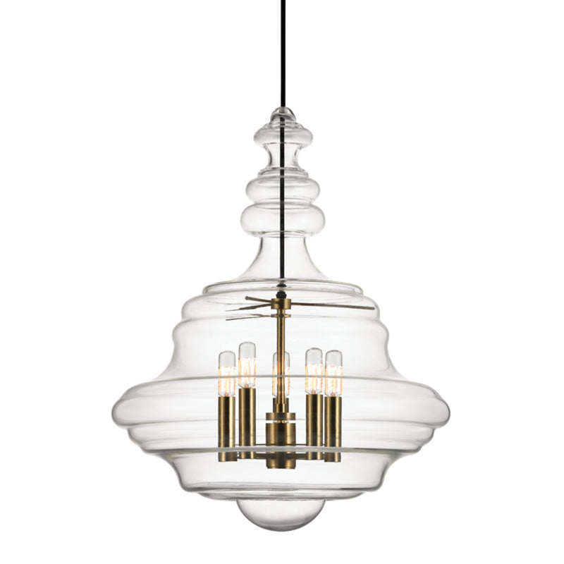 Hudson Valley Lighting 4020-AGB Washington 5 Light Large Pendant in Aged Brass