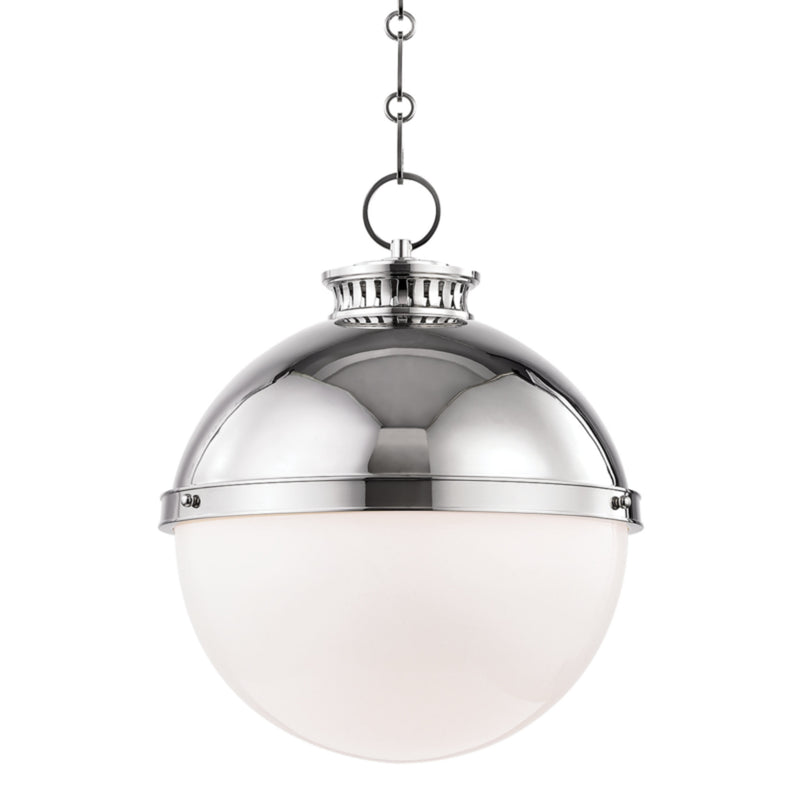 Hudson Valley Lighting 4025-PN Latham 1 Light Large Pendant in Polished Nickel