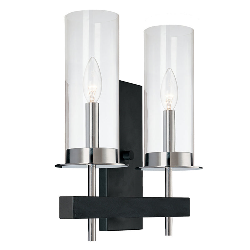 Sonneman 4062.54 Tuxedo Double Sconce in Polished Chrome & Black