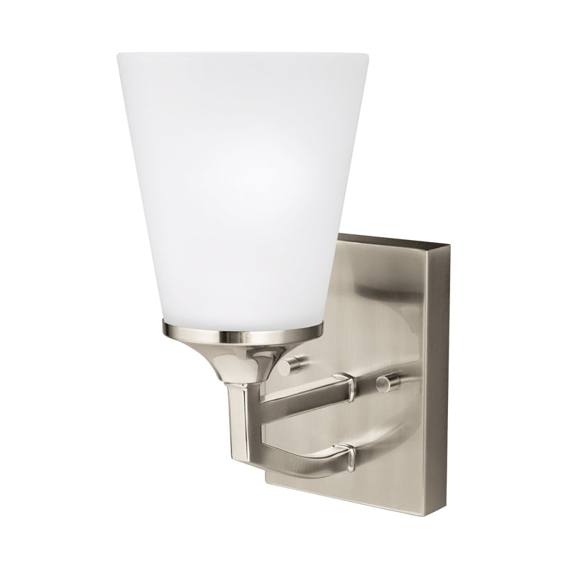 Generation Lighting 4124501-962 Sea Gull Hanford 1 Light Wall / Bath Light in Brushed Nickel