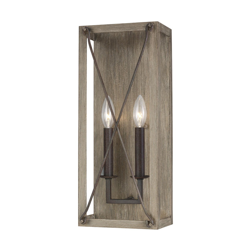 Generation Lighting 4126302-872 Sea Gull Thornwood 2 Light Wall / Bath Light in Washed Pine / Weathered Iron