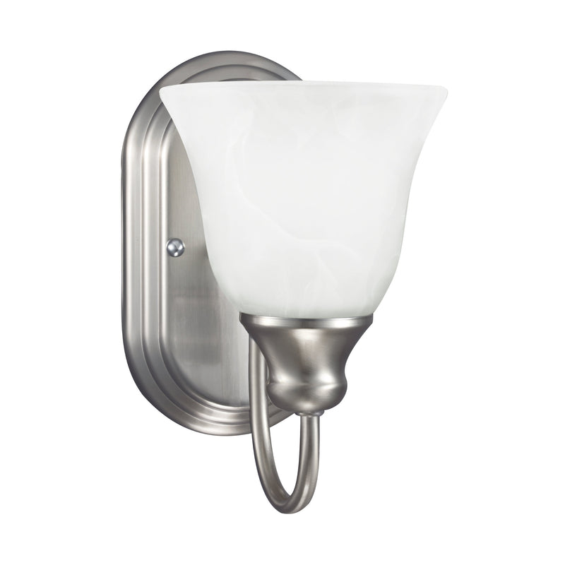 Generation Lighting 41939-962 Sea Gull Windgate 1 Light Wall / Bath Light in Brushed Nickel