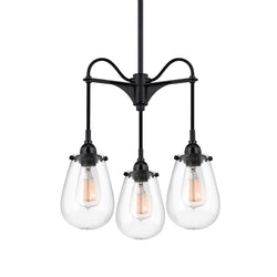 Sonneman 4294.25 Chelsea 3-Arm Pendant in Satin Black