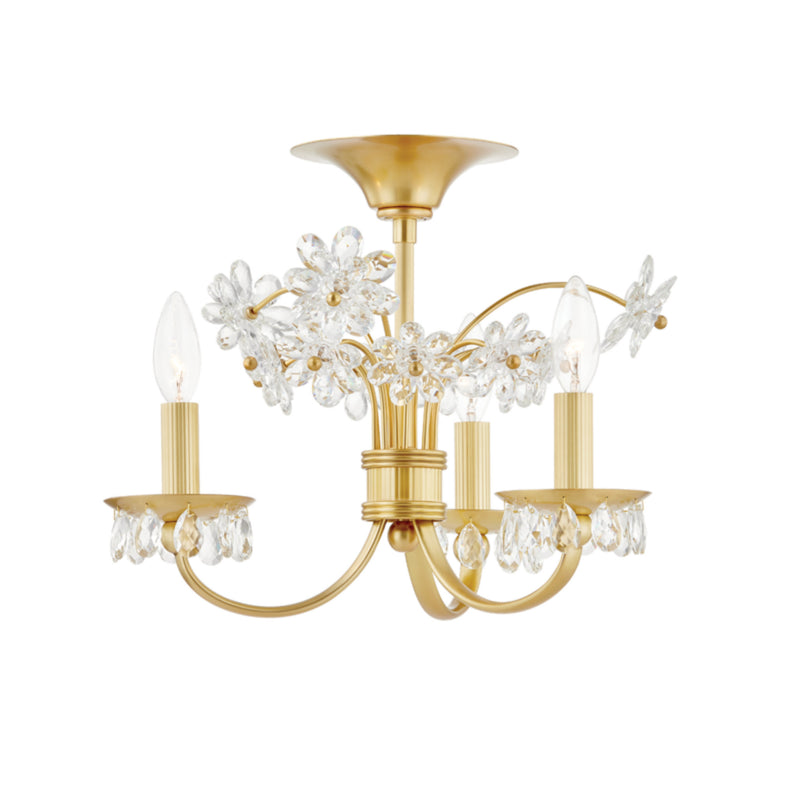 Hudson Valley Lighting 4403-AGB Beaumont 3 Light Flush Mount in Aged Brass