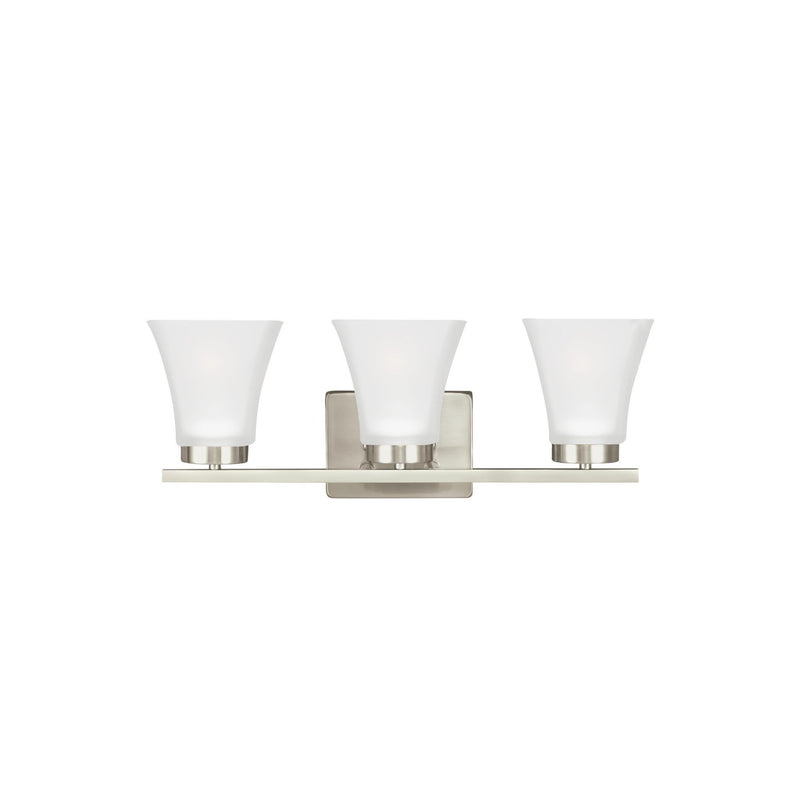 Generation Lighting 4411603EN3-962 Sea Gull Bayfield 3 Light Wall / Bath Light in Brushed Nickel