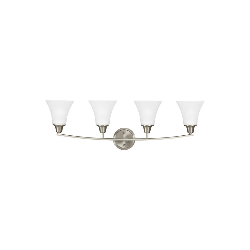 Generation Lighting 4413204-962 Sea Gull Metcalf 4 Light Wall / Bath Light in Brushed Nickel