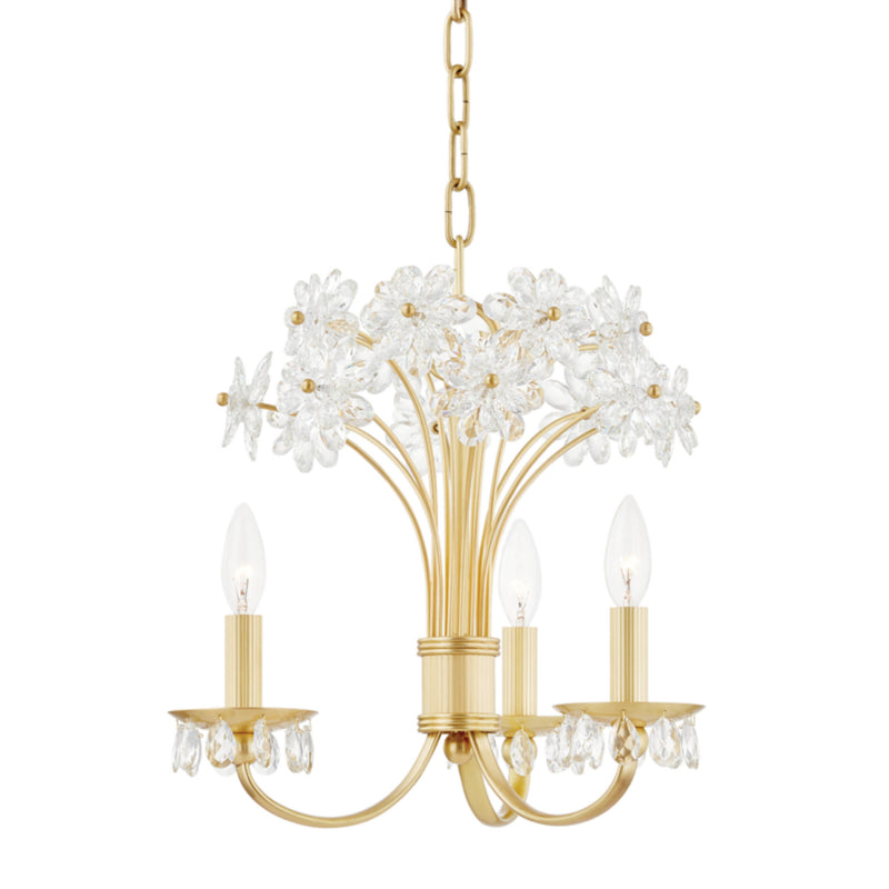 Hudson Valley Lighting 4419-AGB Beaumont 3 Light Chandelier in Aged Brass