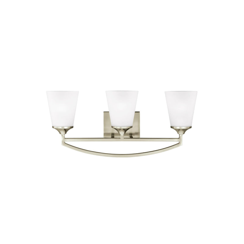 Generation Lighting 4424503EN3-962 Sea Gull Hanford 3 Light Wall / Bath Light in Brushed Nickel