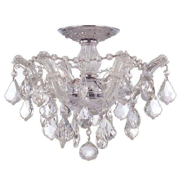 Crystorama 4430-CH-CL-MWP Maria Theresa Ceiling Mount in Polished Chrome
