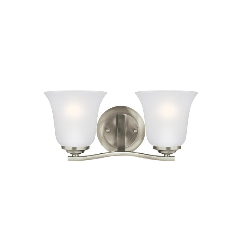 Generation Lighting 4439002EN3-962 Sea Gull Emmons 2 Light Wall / Bath Light in Brushed Nickel