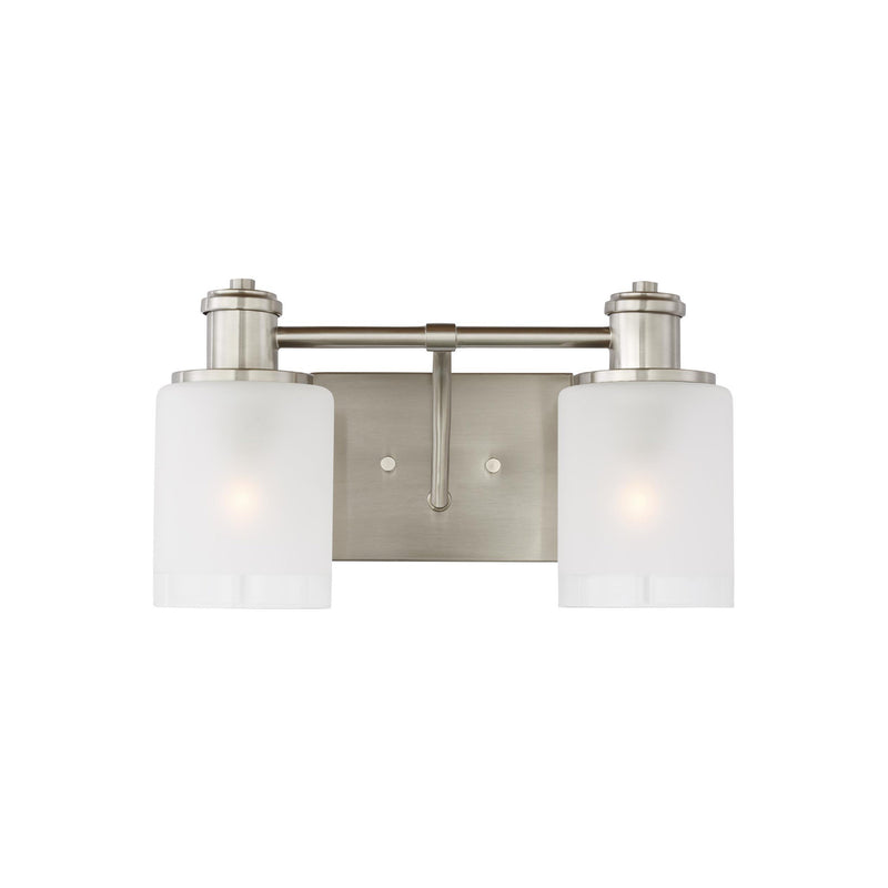 Generation Lighting 4439802-962 Sea Gull Norwood 2 Light Wall / Bath Light in Brushed Nickel