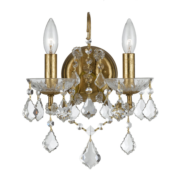 Crystorama 4452-GA-CL-MWP Filmore Wall Mount in Antique Gold