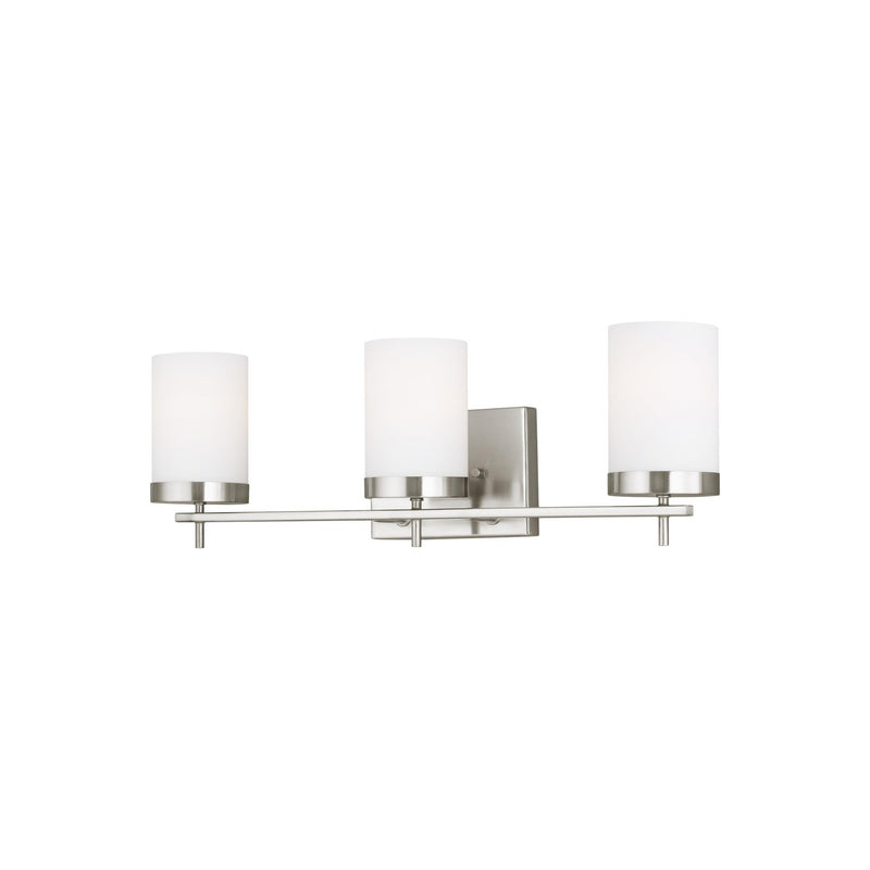 Generation Lighting 4490303-962 Sea Gull Zire 3 Light Wall / Bath Light in Brushed Nickel