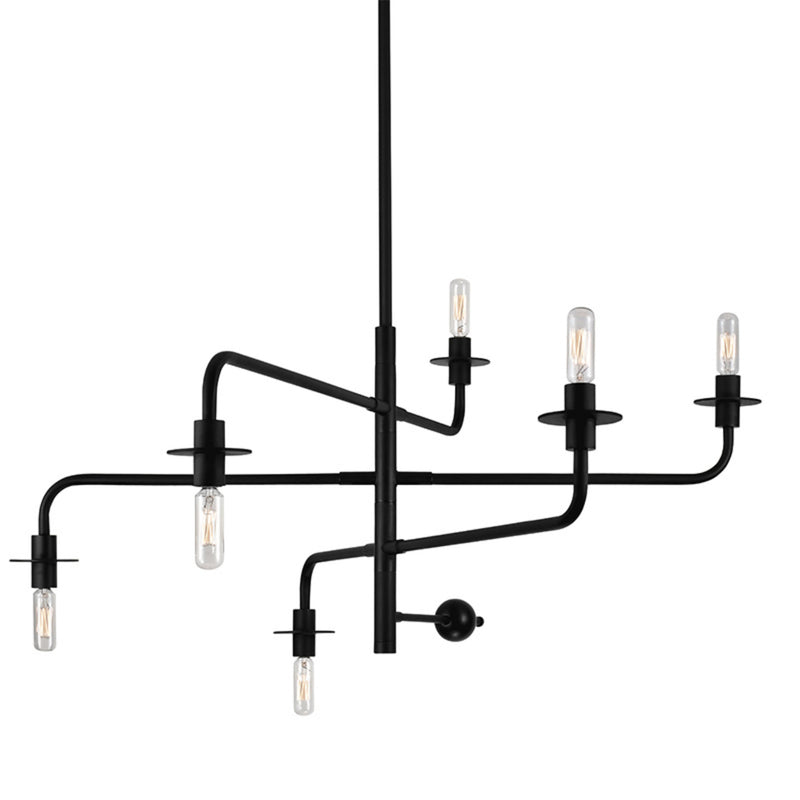 Sonneman 4546.25 Atelier 6-Light Pendant in Satin Black