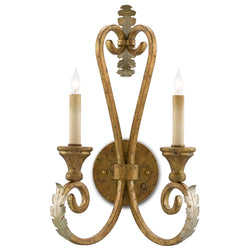 Currey and Company 5000-0034 Orleans Gold Wall Sconce in Gold Leaf/Silver Leaf
