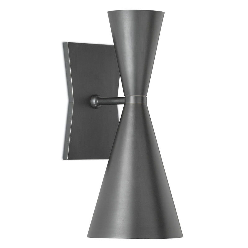 Currey and Company 5000-0044 Gino Wall Sconce in Dark Gray/White Interior