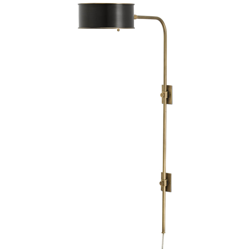 Currey and Company 5000-0059 Overture Brass Wall Sconce in Antique Brass/Black