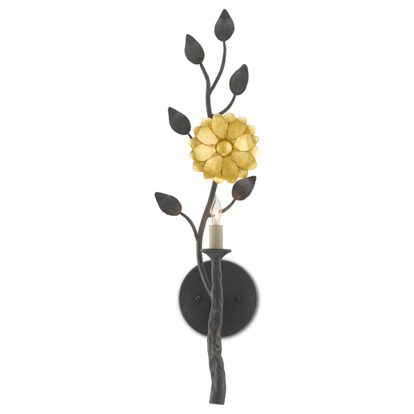 Currey and Company 5000-0145 Oona Wall Sconce in French Black/Contemporary Gold Leaf