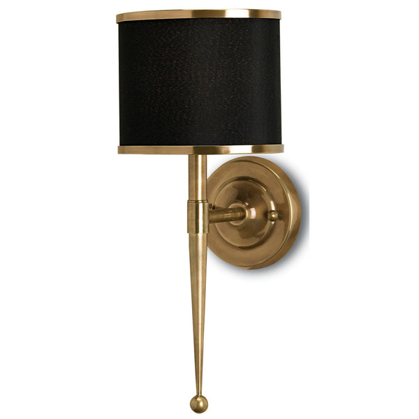 Currey and Company 5021 Primo Black Brass Wall Sconce in Brass