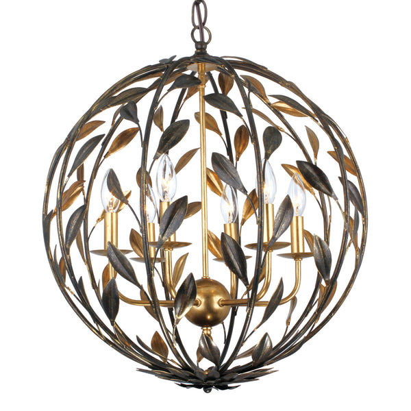 Crystorama 506-EB-GA Broche Chandelier in English Bronze + Antique Gold