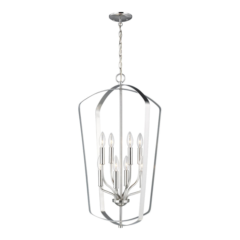 Generation Lighting 5134908-962 Sea Gull Romee 8 Light Pendant in Brushed Nickel